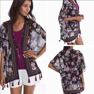 NWOT WHBM Floral Tassel Kimono